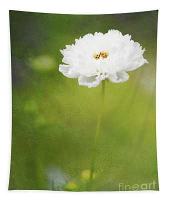Charming White Cosmos Tapestry