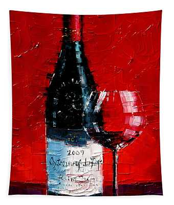 Still Life With Wine Bottle And Glass I Tapestry