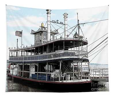 Chautauqua Belle Steamboat With Ink Sketch Effect Tapestry