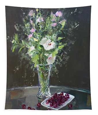 Cherries And Flowers For Her IIi Tapestry