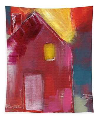 Cherry Blossom House- Art By Linda Woods Tapestry