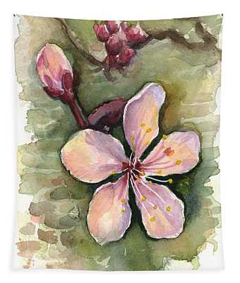 Cherry Blossom Watercolor Tapestry