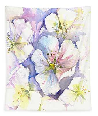 Cherry Blossoms Watercolor Tapestry