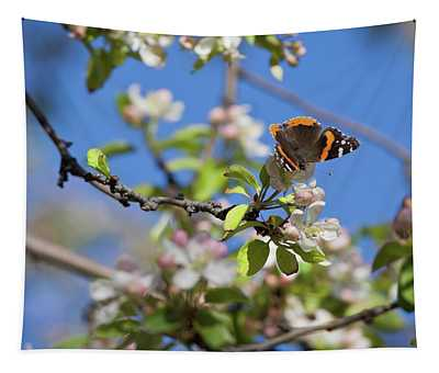 Monarch Butterfly On Cherry Tree Tapestry