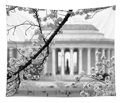 Cherry Tree And Jefferson Memorial Elegance  Tapestry