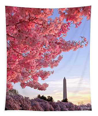 Cherry Tree And The Washington Monument  Tapestry