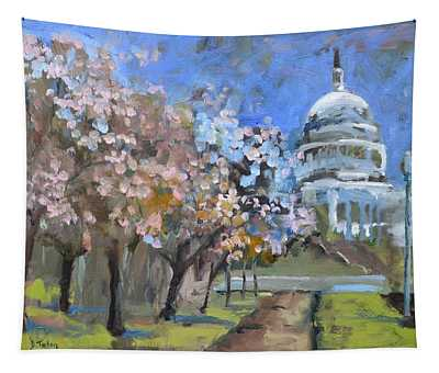 Cherry Tree Blossoms In Washington Dc Tapestry
