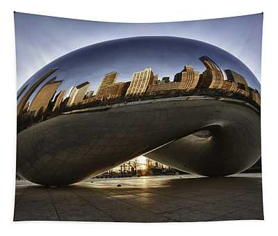 Chicago Cloud Gate At Sunrise Tapestry