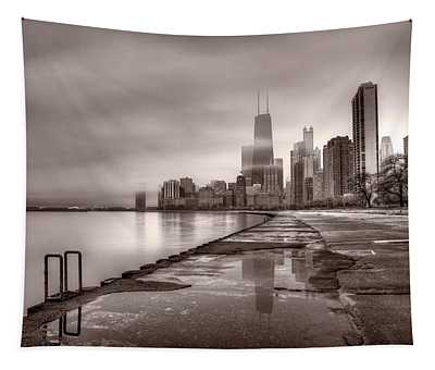 Chicago Foggy Lakefront Bw Tapestry