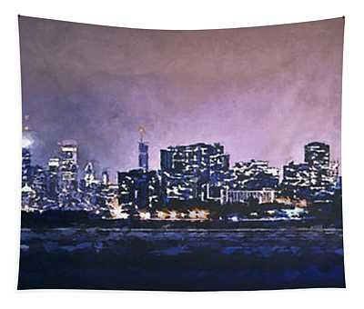 Chicago Skyline From Evanston Tapestry