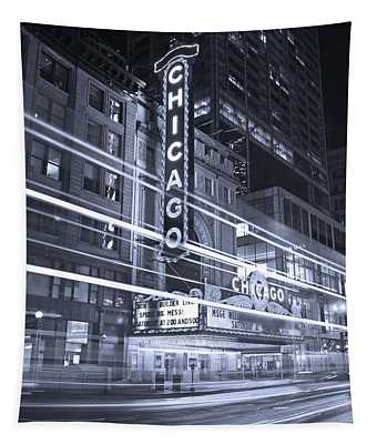 Chicago Theater Marquee B And W Tapestry