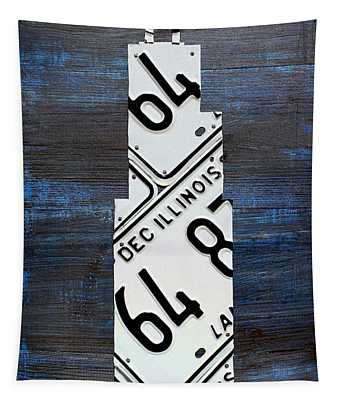 Chicago Windy City Harris Sears Tower License Plate Art Tapestry