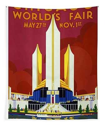 Chicago World's Fair - Century Of Progress - Retro Travel Poster - Vintage Poster Tapestry