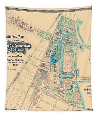 Chicago World's Fair - Columbian Exposition Map - 1893 Tapestry