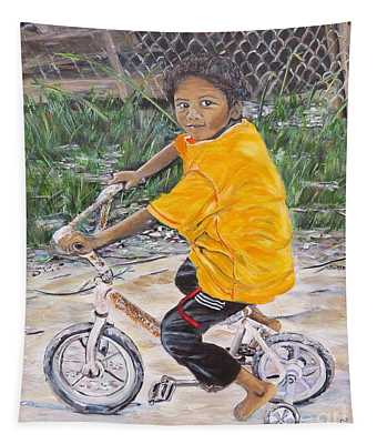 Chico Y Bicicleta Tapestry