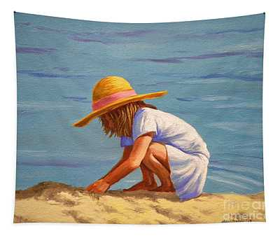 Child Playing In The Sand Tapestry