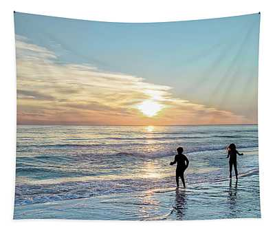 Children At Play On A Florida Beach  Tapestry