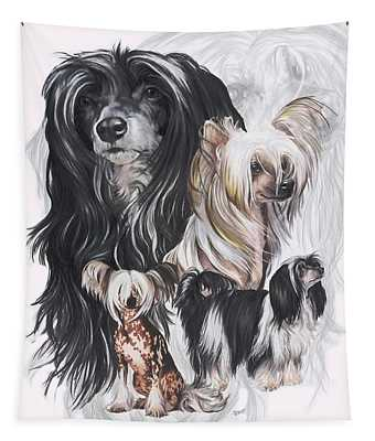 Chinese Crested And Powderpuff Medley Tapestry
