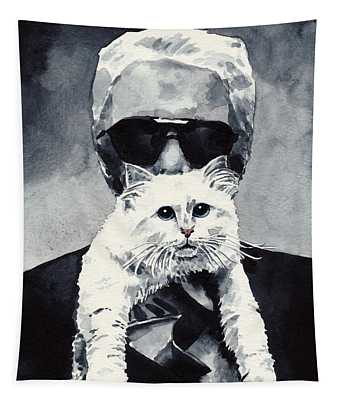 Choupette Cat And Karl Lagerfeld Tapestry