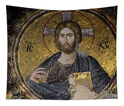 Christ Holds Bible In Mosaic At Chora Church Istanbul Turkey Tapestry