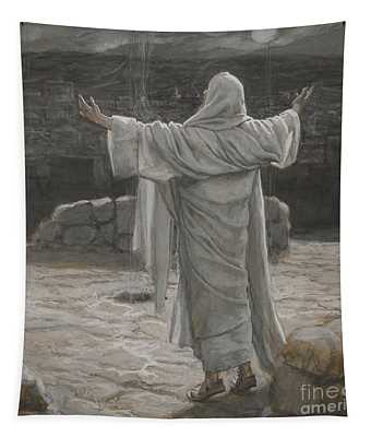 Christ Retreats To The Mountain At Night Tapestry