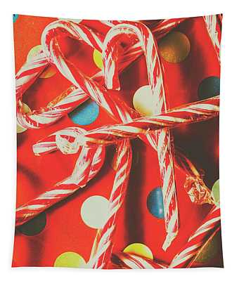 Christmas Candy Canes Tapestry