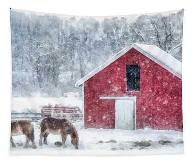 Christmas Snowstorm Vermont Watercolor Tapestry