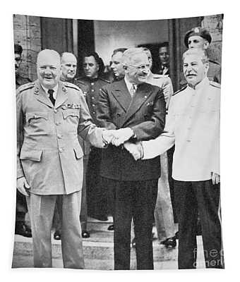 Churchill, Truman And Stalin At The Potsdam Conference, July 1945 Tapestry