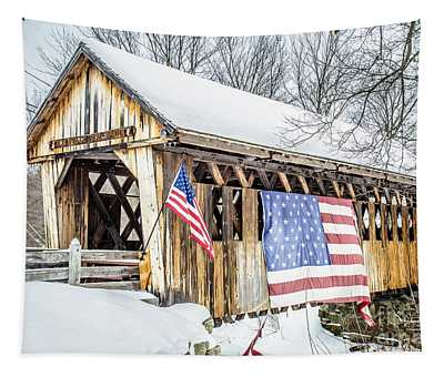 Cilleyville Bog Bridge Covered Bridge New Hampshire Tapestry
