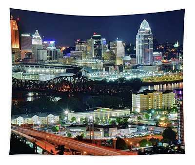 Cincinnati And Covington Collide Tapestry
