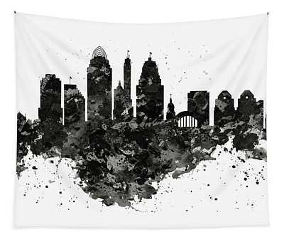 Cincinnati Skyline Black And White Tapestry