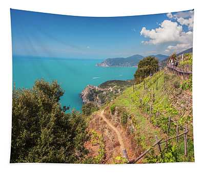 Cinque Terre Italy Vineyard Walk Tapestry