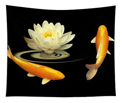 Circle Of Life - Koi Carp With Water Lily Tapestry