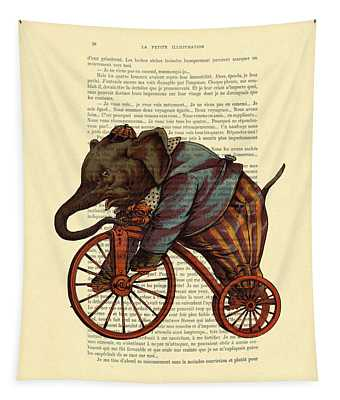 Circus Elephant On Bicycle Tapestry
