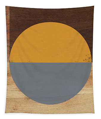 Cirkel Yellow And Grey- Art By Linda Woods Tapestry