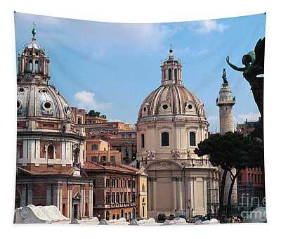 Baroque Churches In Piazza Venezia Rome, Italy Tapestry