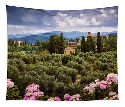 Tuscan Landscape With Roses And Mountains In Florence, Italy Tapestry