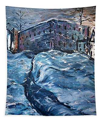 City Snow Storm Tapestry