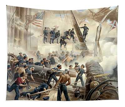 Civil War Naval Battle Tapestry