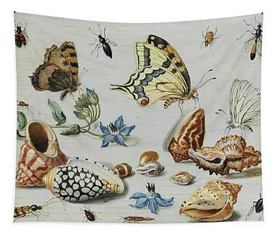 Clams, Butterflies, Flowers And Insects Tapestry
