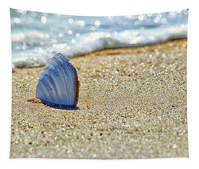 Clamshell In The Waves On Assateague Island Tapestry