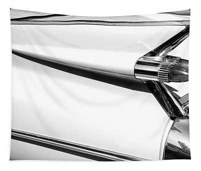 Classic Car Tail Fins Black White Tapestry