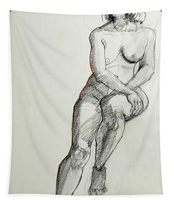 Classic Life Drawing Of A Young Female Nude Sitting On A Stool Tapestry