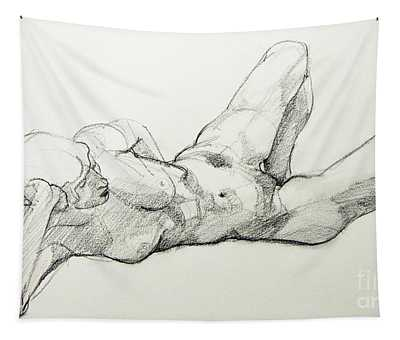 Classic Life Drawing Of A Young, Relaxed Female Nude Listening Tapestry