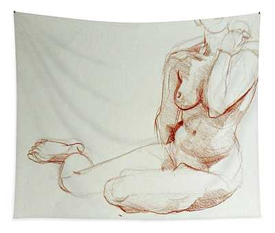 Classic Life Figure Drawing Of A Young Nude Woman  Tapestry