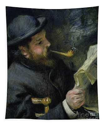 Claude Monet Reading A Newspaper Tapestry