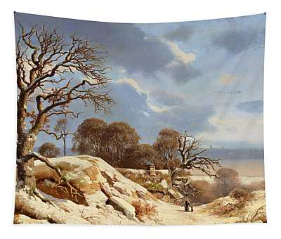 Clear Winter's Day By The Baltic Sea Tapestry