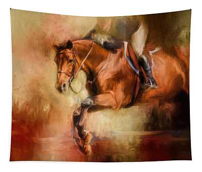 Clearing The Jump Equestrian Art Tapestry