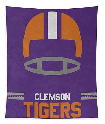 Clemson Tigers Vintage Football Art Tapestry
