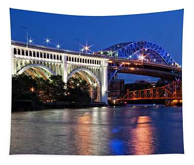 Cleveland Colored Bridges Tapestry